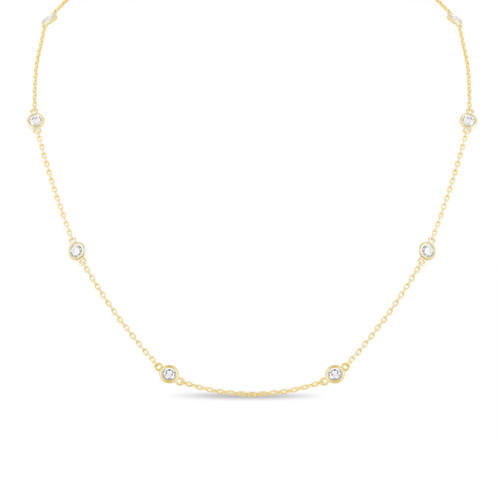 1.00 Carat Diamond By The Yard Necklace 14k Yellow Gold Fine Bezel Set