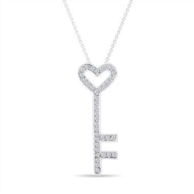 Platinum Key Diamond Pendant Necklace Love Heart 0.51 Carat Pave Handmade