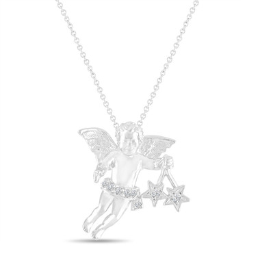 Diamond Angel Pendant Necklace 14k White Gold Handmade Unique 0.15 Carat