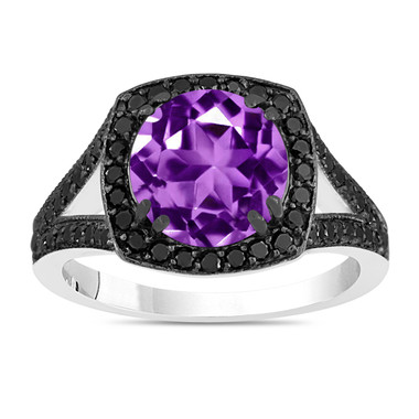 3.04 Carat Amethyst Engagement Ring, With Black Diamonds Wedding Ring 14K White Gold Unique Halo Pave Handmade Certified