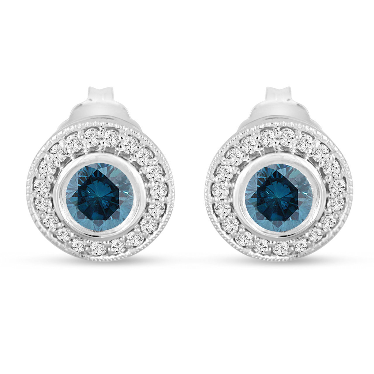 23069cc7419e3 Blue Diamond Earrings, Halo Stud Earrings, 14K White Gold 0.84 Carat Bezel  And Micro Pave Handmade Unique