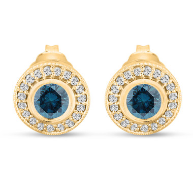 Fancy Blue Diamond Stud Earrings Halo 14K Yellow Gold 0.84 Carat Bezel And Micro Pave Handmade Unique