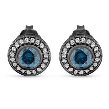 Fancy Blue Diamond Stud Earrings Halo 14K Black Gold Vintage Style 0.84 Carat Bezel And Micro Pave Handmade Unique