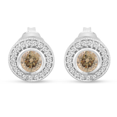 Champagne Diamond Stud Earrings Halo 14K White Gold 0.86 Carat Bezel And Micro Pave Handmade Unique