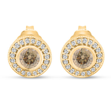Fancy Champagne Diamond Stud Earrings Halo 14K Yellow Gold 0.86 Carat Bezel And Micro Pave Handmade Unique