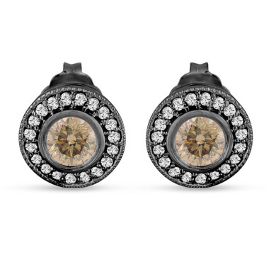 Champagne Diamond Stud Earrings Halo 14K Black Gold Vintage Style 0.86 Carat Bezel And Micro Pave Handmade Unique
