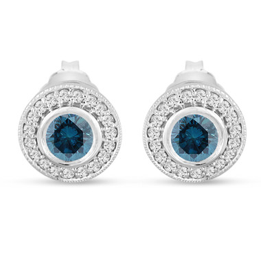 Platinum Blue Diamond Stud Earrings Halo 0.84 Carat Bezel And Micro Pave Handmade Unique
