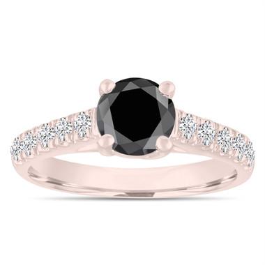1.55 Carat Black Diamond Engagement Ring, Wedding Ring, Statement Ring 14k Rose Gold Unique Handmade Certified