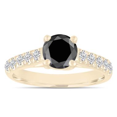 1.55 Carat Black Diamond Engagement Ring, Wedding Ring, Statement Ring 14k Yellow Gold Unique Handmade Certified