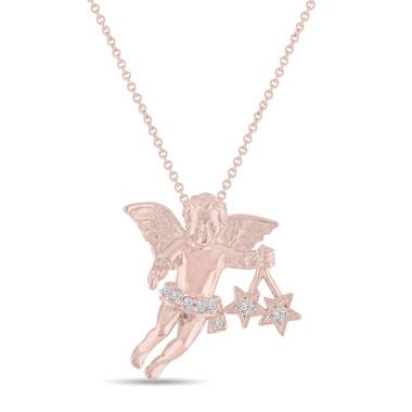 Diamond Angel Pendant Necklace 14k Rose Gold Handmade Unique 0.15 Carat