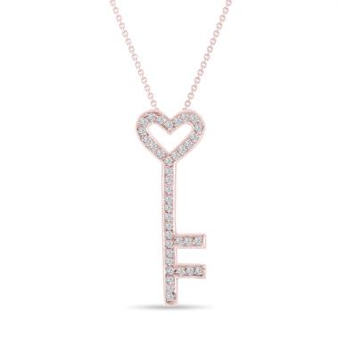 Key Diamond Pendant Necklace Love Heart 14K Rose Gold 0.51 Carat Pave Handmade