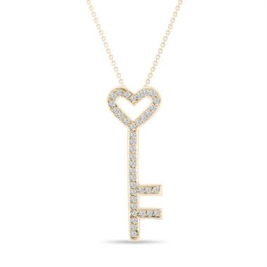 Key Diamond Pendant Necklace Love Heart 14K Yellow Gold 0.51 Carat Pave Handmade