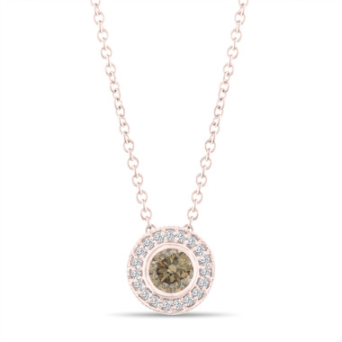 Fancy Champagne Brown Diamond Pendant Necklace 14K Rose Gold 0.45 Carat Halo Bezel And Micro Pave Set Handmade