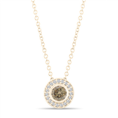 Fancy Champagne Brown Diamond Pendant Necklace 14K Yellow Gold 0.45 Carat Halo Bezel And Micro Pave Set Handmade