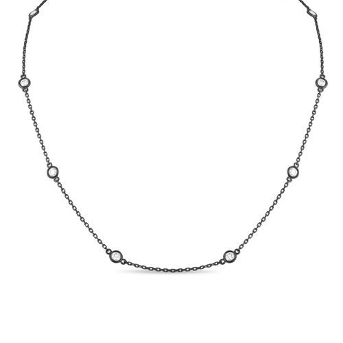 1.00 Carat Diamond By The Yard Necklace 14k Black GoldVintage Style Fine Bezel Set
