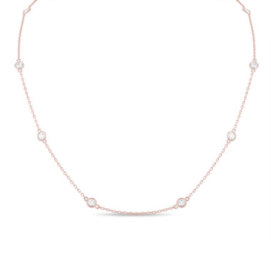 1.00 Carat Diamond By The Yard Necklace 14k Rose Gold Fine Bezel Set