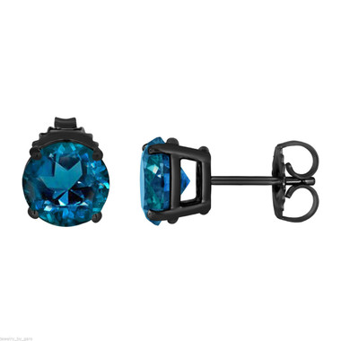 3.20 Carat London Blue Topaz Stud Earrings Vintage Style 14K Black Gold Handmade Birthstone