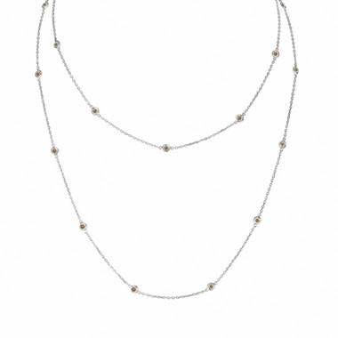 Champagne Diamond By The Yard Necklace 36 Inch 1.00 Carat 14k White Gold Long Necklace Handmade