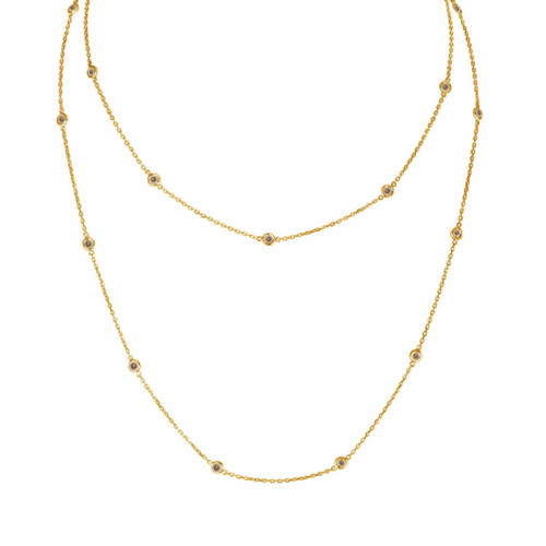 Fancy Champagne Diamond By The Yard Necklace 36 Inch 1.00 Carat 14k Yellow Gold Long Necklace Handmade