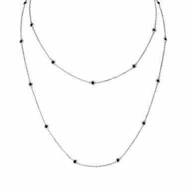 Black Diamond By The Yard Necklace 36 Inch Long Necklace 1.00 Carat 14k White Gold Handmade
