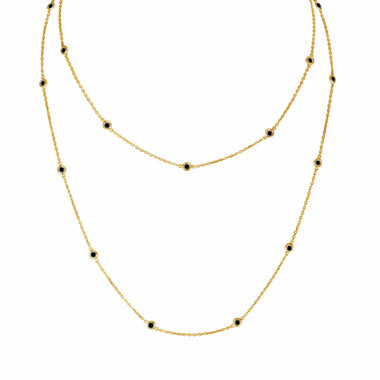 Black Diamond By The Yard Necklace 36 Inch Long Necklace 1.00 Carat 14k Yellow Gold Handmade