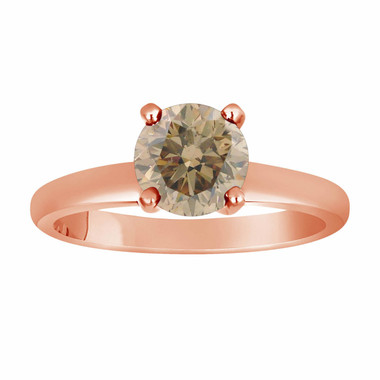Champagne Diamond Solitaire Engagement Ring 14K Rose Gold 1.05 Carat Certified