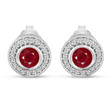 Ruby Stud Earrings 0.90 Carat 14k White Gold Micro Pave And Bezel Set Handmade Halo