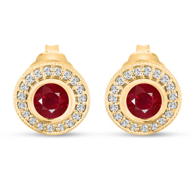 Red Ruby Stud Earrings 0.90 Carat 14k Yellow Gold Micro Pave And Bezel Set Handmade Halo