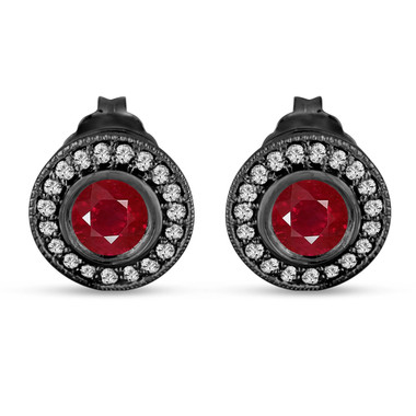 Ruby And Diamonds Stud Earrings 0.90 Carat 14k Black Gold Vintage Style Micro Pave And Bezel Set Handmade Halo