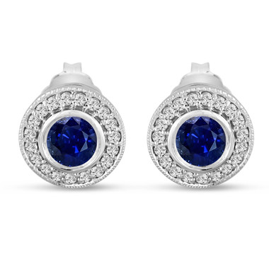 Sapphire And Diamonds Stud Earrings 0.92 Carat 14k White Gold Micro Pave And Bezel Set Handmade Halo