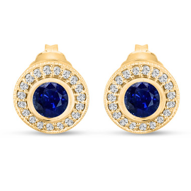Blue Sapphire Stud Earrings 0.92 Carat 14k Yellow Gold Micro Pave And Bezel Set Handmade Halo