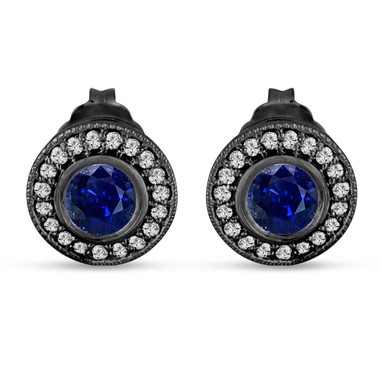 Sapphire And Diamonds Stud Earrings 0.92 Carat 14k Black Gold Vintage Style Micro Pave And Bezel Set Handmade Halo