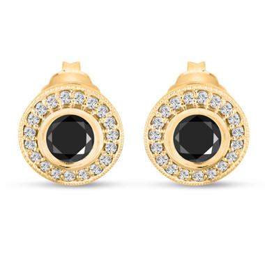 Fancy Black Diamonds Stud Earrings 0.96 Carat 14k Yellow Gold Micro Pave And Bezel Set Handmade Halo