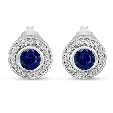 Platinum Blue Sapphire Stud Earrings 0.92 Carat Micro Pave And Bezel Set Handmade Halo