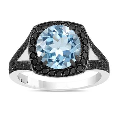 Aquamarine Engagement Ring, Aquamarine And Fancy Black Diamonds Wedding Ring 14K White Gold 2.89 Carat Unique Halo Pave Handmade Certified