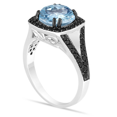 Platinum Aquamarine Engagement Ring, Aquamarine And Fancy Black Diamonds Wedding Ring 2.89 Carat Unique Halo Pave Handmade Certified