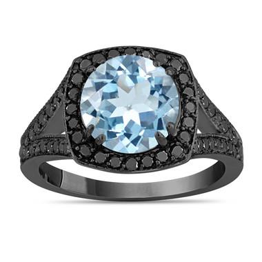 Aquamarine Engagement Ring, With Fancy Black Diamonds Vintage Style 14K Black Gold 2.89 Carat Unique Halo Pave Handmade Certified