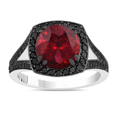 3.34 Carat Garnet Engagement Ring, Red Garnet And Fancy Black Diamonds Wedding Ring 14K White Gold Unique Halo Pave Handmade Certified