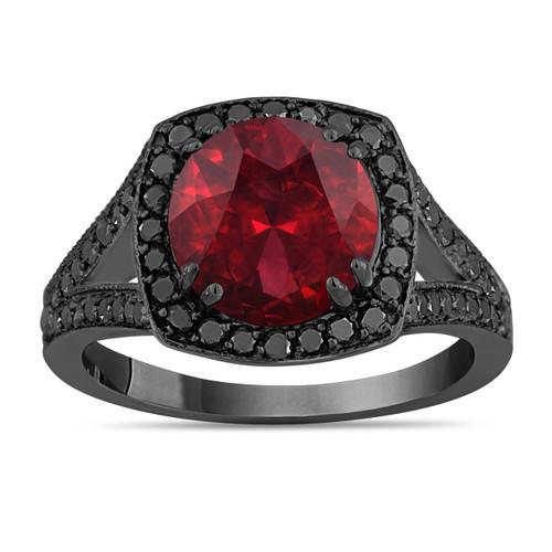 Garnet Engagement Ring, Red Garnet Wedding Ring Vintage Style 14K Black Gold 3.34 Carat Unique Halo Pave Handmade Certified