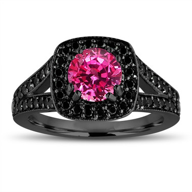 Pink Sapphire Engagement Ring 14K Black Gold Vintage Style 1.71 Carat With Fancy Black Diamonds Unique Halo Pave Handmade Certified