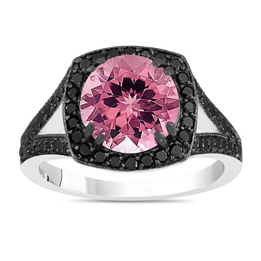 Pink Tourmaline Engagement Ring With Fancy Black Diamonds Wedding Ring 14K White Gold 3.24 Carat Unique Halo Pave Handmade Certified