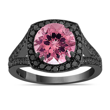Pink Tourmaline Engagement Ring Wedding Ring 14K Black Gold Vintage Style 3.24 Carat Unique Halo Pave Handmade Certified