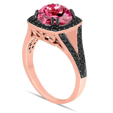 Pink Tourmaline Engagement Ring Bridal Wedding Ring 14K Rose Gold 3.24 Carat Unique Halo Pave Handmade Certified