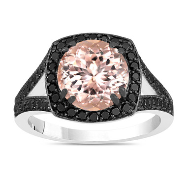 3.01 Carat Pink Peach Morganite Engagement Ring With Fancy Black Diamonds Wedding Ring 14K White Gold Unique Halo Pave Handmade Certified