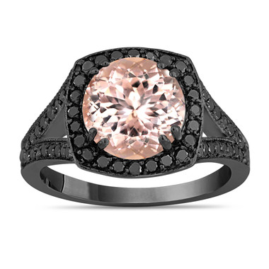 Peach Pink Morganite Engagement Ring With Diamonds Wedding Ring 3.01 Carat 14K Black Gold Vintage Style Unique Halo Pave Handmade Certified