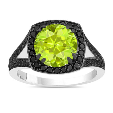 2.89 Carat Peridot Engagement Ring, With Diamonds Wedding Ring 14K White Gold Unique Halo Pave Handmade Certified