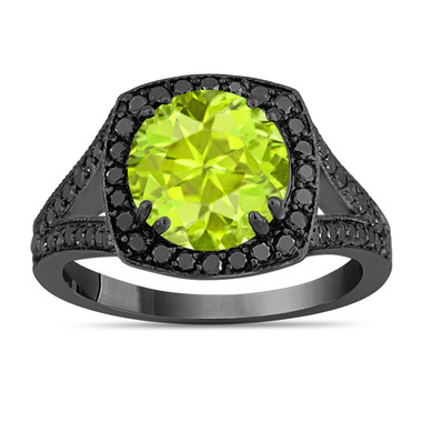 Green Peridot Engagement Ring, Vintage Style Diamonds Wedding Ring 14K Black Gold 2.89 Carat Unique Halo Pave Handmade Certified
