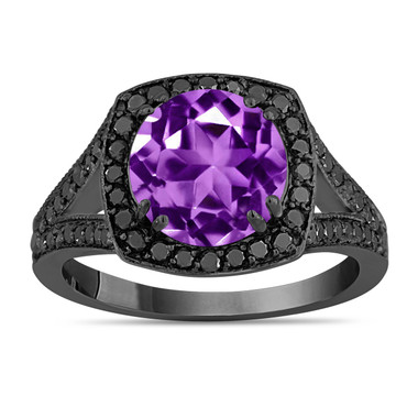 3.04 Carat Purple Amethyst Engagement Ring, With Black Diamonds Wedding Ring 14K Black Gold Vintage Style Unique Halo Handmade Certified