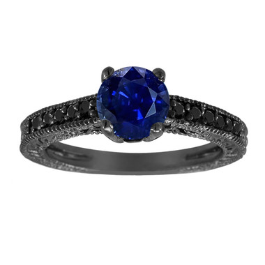 1.26 Carat Blue Sapphire Engagement Ring, With Black Diamonds Wedding Ring 14K Black Gold Unique Vintage Style Pave Handmade Certified