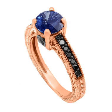 Sapphire Engagement Ring, Wedding Ring 14K Rose Gold Unique Vintage Style 0.75 Carat Pave Handmade Certified